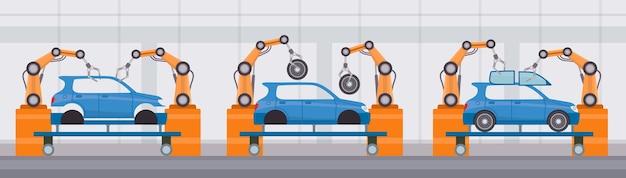 El brazo del robot de la industria ensambla los coches en la cinta transportadora. fabricación automatizada en fábricas de automóviles. concepto de vector de línea de construcción de máquina plana