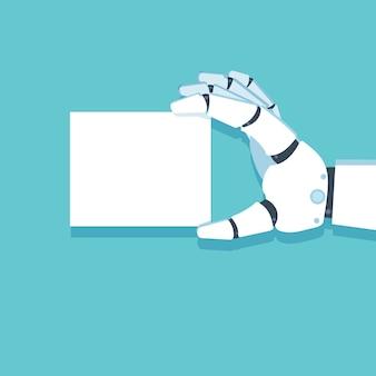 Brazo robot, tarjeta de mano. ilustración vectorial