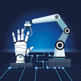 Brazo robótico de tecnología de inteligencia artificial con mano de android
