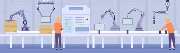 Brazos robóticos y trabajadores de personas en la línea transportadora de fabricación. maquinaria automatizada de ensamble y empaque de productos. concepto de vector de fábrica inteligente. proceso de producción y envasado, tecnología innovadora.