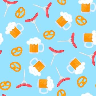 Bretzel y jarra de cerveza con espuma. parrilla de salchichas en un tenedor. repostería tradicional alemana. comida nacional al oktoberfest. patrón sin costuras.