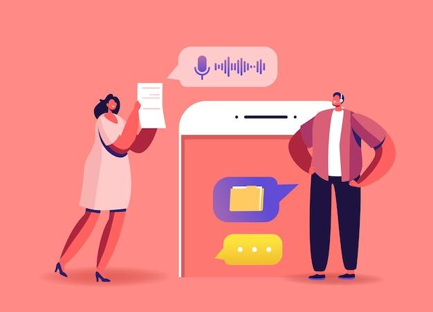 Briefing online, trabajo en equipo. personajes de negocios, empleados de oficina hablan por videollamada con un colega remoto