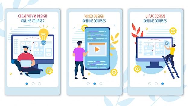 Bright banner cursos en línea creativos y de diseño.