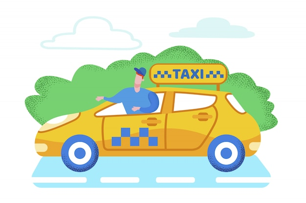 Bright banner taxi servicio de pasajeros de dibujos animados.
