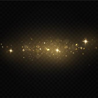 Brilla sobre un fondo transparente. partículas de polvo mágico espumoso. las chispas de polvo y las estrellas doradas brillan con una luz especial.