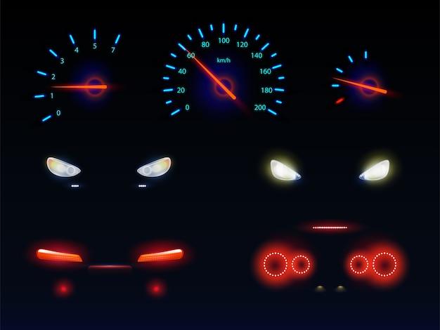 Brillando en la oscuridad luz azul, roja y blanca, frente del automóvil, faros traseros, escalas de velocímetro y tacómetro, indicadores de nivel de batería, combustible o aceite conjunto de vectores realistas 3d
