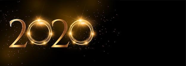 Brillante 2020 feliz año nuevo banner dorado ancho