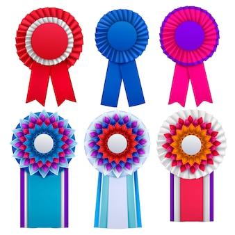 Brillante azul rojo rosa púrpura premios circulair rosetas insignias insignias solapas con cintas conjunto realista