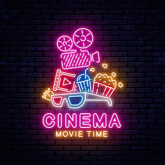 Brillante banner de cine de neón.