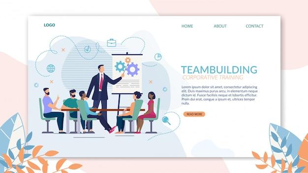 Brillante banner de formación empresarial teambuilding.