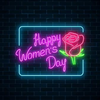 Brillante banner de neón del día mundial de la mujer en la pared de ladrillo oscuro tarjeta de felicitación de primavera para marzo