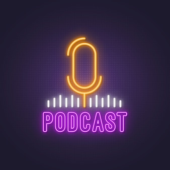 Brillante brillante podcast letrero de neón.