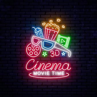 Brillante cartel de cine de neón