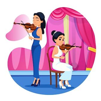Brillante cartel violín dúo rendimiento dibujos animados.