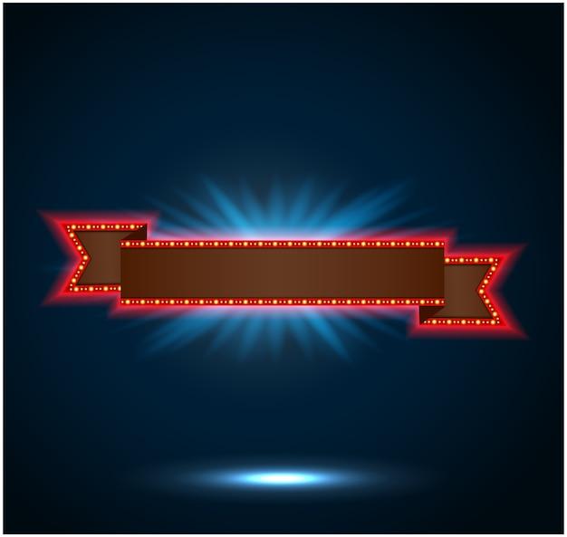 Brillante cinta retro cartelera de cartelera de luz
