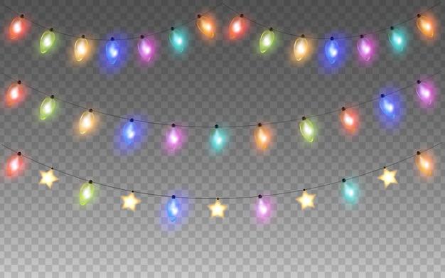 Brillante colorido guirnalda de navidad o año nuevo bombillas de cadena aisladas sobre fondo transparente