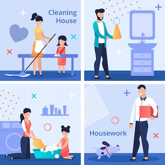 Brillante conjunto de volante escrito limpieza casa tareas domésticas.