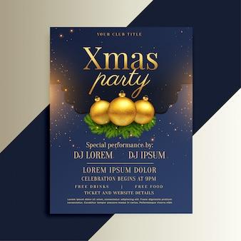 Brillante diseño de flyer navideño con bolas doradas.