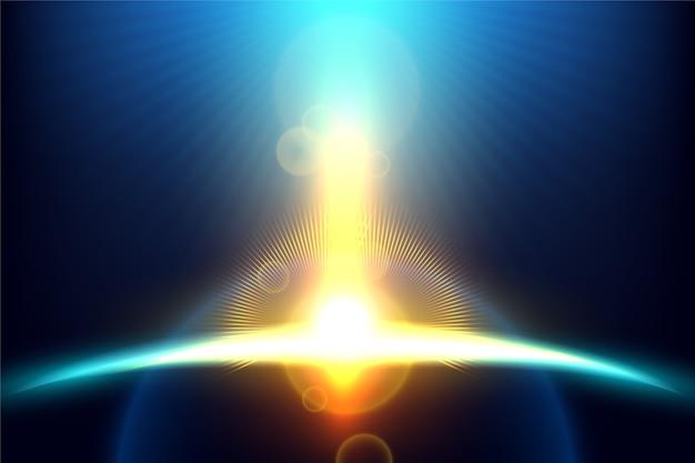Brillante efecto de luz del amanecer de la tierra