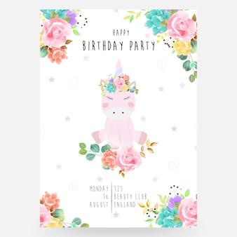 Brillante encantador lindo hada mágico colorido unicornio con pestañas en la hermosa flor corona acuarela