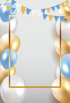 Brillante feliz cumpleaños globos fondo vector ilustración eps10