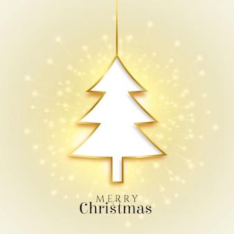 Brillante feliz navidad árbol de oro hermosa tarjeta