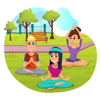 Brillante flyer pose yoga meditación de dibujos animados.