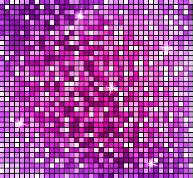 Brillante fondo de mosaico rosa abstracto. mosaico brillante en estilo bola de discoteca.