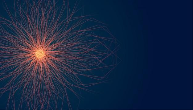 Brillante forma de estrella con rayos de luz estalló fondo