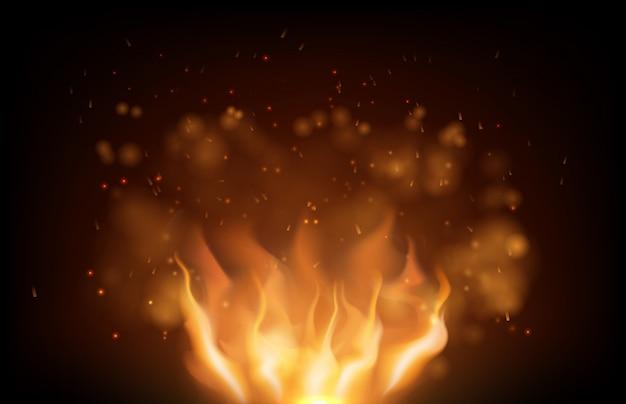 Brillante fuego llameante y brillo en negro