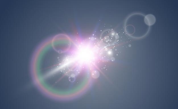 Brillante hermosa estrella. ilustración de un efecto de luz sobre un fondo transparente.