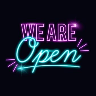 Brillante letrero de 'estamos abiertos'