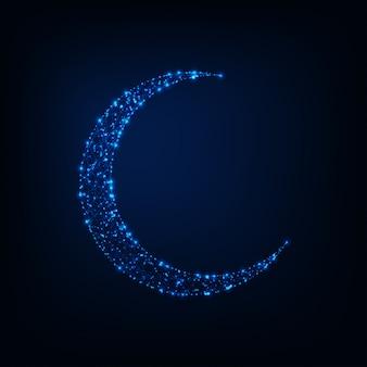 Brillante luna poligonal baja hecha de estrellas, líneas sobre fondo de noche azul oscuro.