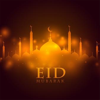 Brillante mezquita eid mubarak festival saludo fondo