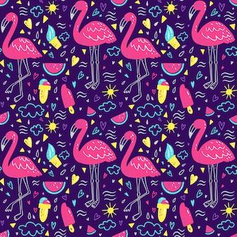 Brillante patrón de verano con flamencos, corazones, helados, sandías, nubes.