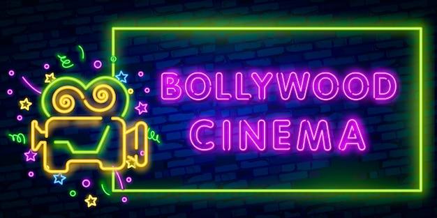 Brillante retro cine indio letrero de neón