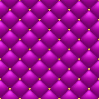 Brillante romántico de patrones sin fisuras. fondo rosa acolchado. corazones de oro.