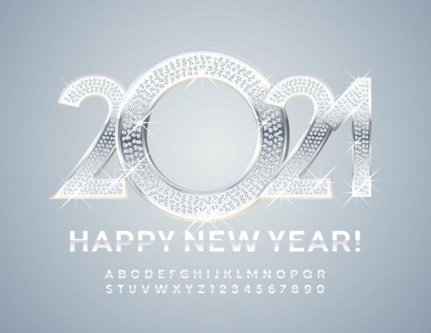 Brillante tarjeta de felicitación ¡feliz año nuevo 2021! fuente de plata. números y letras del alfabeto de metal