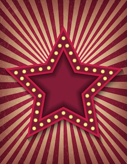 Brillantemente brillante estrella de cine retro de neón. muestra de estilo de circo plantilla de banner vertical.