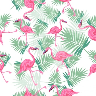 Brillantes coloridas y lindas palmeras tropicales con flamencos sin patrón