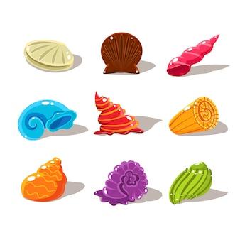 Brillantes conchas de mar de dibujos animados. conjunto de ilustraciones