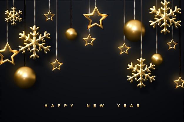 Brillantes copos de nieve doradas, bolas de navidad y estrellas sobre fondo negro. ilustración 3d de brillante colgando adorno de cristmas. plantilla de portada o banner de año nuevo.