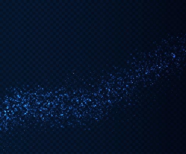 Brillantes efectos de luz, partículas azules fluyen