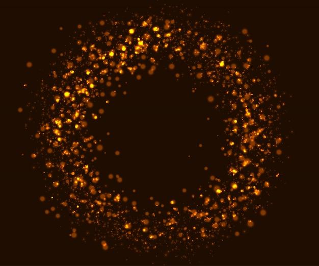 Brillantes efectos de luz, partículas doradas fluyen