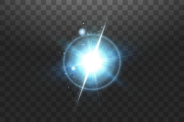 Brillantes estrellas azules aisladas sobre fondo negro. ilustración vectorial.