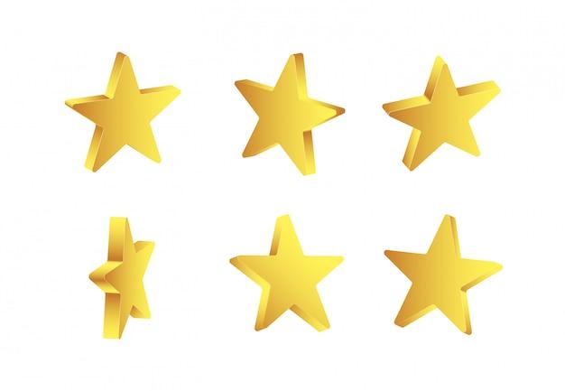 Brillantes estrellas doradas 3d aisladas sobre fondo blanco.