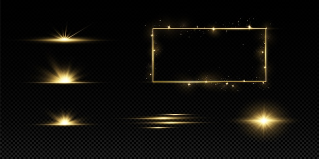 Brillantes estrellas doradas aisladas. efectos, deslumbramiento, líneas, purpurina, explosión, luz dorada.
