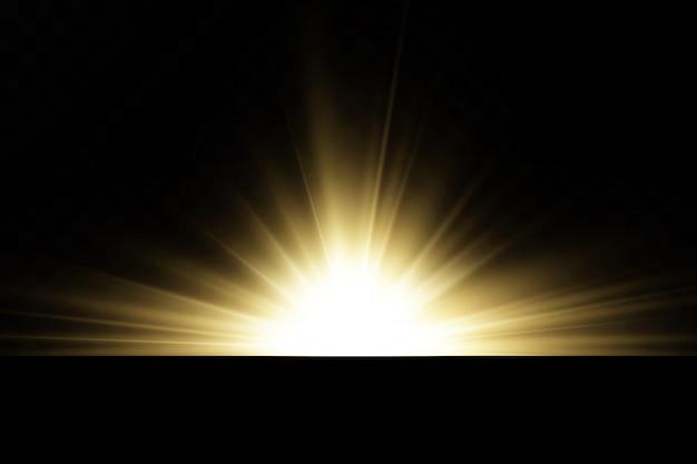 Brillantes estrellas doradas aisladas sobre fondo negro. efectos, deslumbramiento, líneas, purpurina, explosión, luz dorada. ilustración vectorial conjunto.