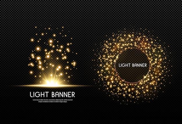 Brillantes estrellas doradas aisladas sobre fondo negro. efectos, destello de lente, brillo, explosión, luz dorada, conjunto. estrellas brillantes