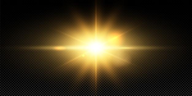 Brillantes estrellas doradas sobre fondo negro. efectos, deslumbramiento, líneas, brillo, explosión, luz dorada. ilustración.